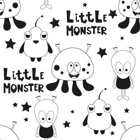 Funny Monsters Seamless pattern - Cartoon Aliens. Black and White Space background. Monochrome Vector Illustration. BW Print for Wallpaper, Baby Clothes, Greeting Card, Wrapping Paper. Stock Illustratie