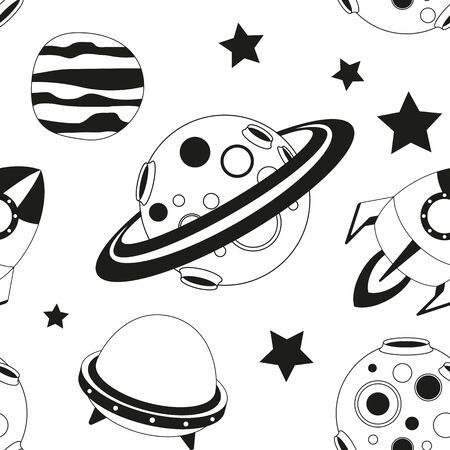 Space Seamless pattern - Cartoon Planets and Rockets. Black and White Space background. Monochrome Vector Illustration. BW Print for Wallpaper, Baby Clothes, Greeting Card, Wrapping Paper. Stock Illustratie