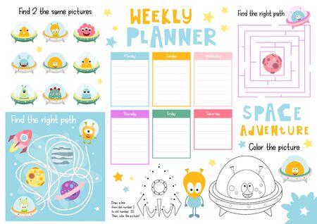 Funny Monsters Kids Weekly Planner Template. Schedule for Children. Set of Kids Puzzles for Preschool, Kindergarten, School. Vector illustration. Stock Illustratie