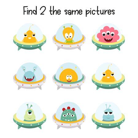 Kids Game - Find Two the Same Aliens. Space Mini Games for Preschool, Kindergarten, School. Vector Illustration.
