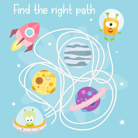 Space Labyrinth. Help Funny Space Monsters Find the Right Path. Games for Preschool, Kindergarten, School. Vector Illustration. Maze Game. Stockfoto - 146342587