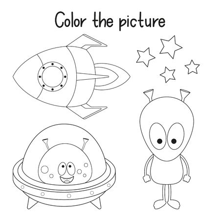 Color the Picture. Coloring Page for Kids - Funny Monsters and Rocket. Games for Preschool, Kindergarten, School. Vector Illustration. Vector Illustration