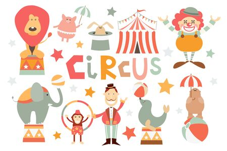 Funny Circus Set. Cute Circus Animals - Lion, Elephant, Bear, Monkey, Seal, Piggy, Rabbit. Circus Characters - Clown, Tamer. Isolated on White background. Vector illustration.