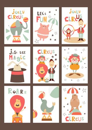 Funny Circus Posters Set - Cartoon Circus Animals and Characters - Clown, Tamer, Illusionist. Kids Illustration for Baby Clothes, Greeting Card, Nursery Decor. Vector Illustration. Cute Lettering.