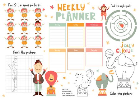 Jolly Circus Kids Weekly Planner Template. Schedule for Children. Set of Kids Puzzles for Preschool, Kindergarten, School. Vector illustration. Funny Circus Animals and Characters.