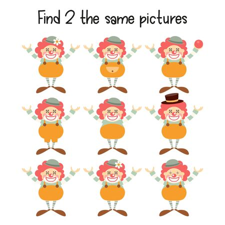 Kids Game - Find Two the Same Clowns. Circus Mini Games for Preschool, Kindergarten, School. Vector Illustration.