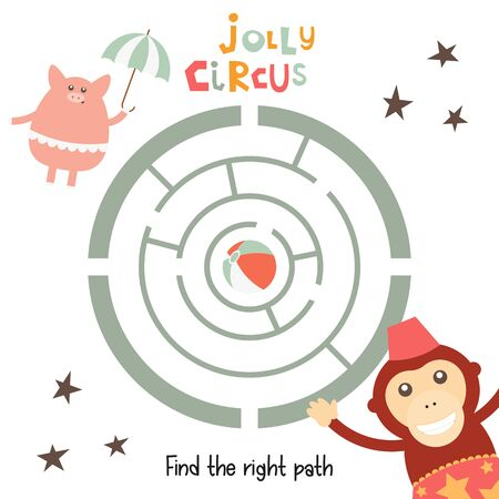 Circus Labyrinth. Help Monkey and Piggy Find the Right Path to Ball. Games for Preschool, Kindergarten, School. Vector Illustration. Maze Game.