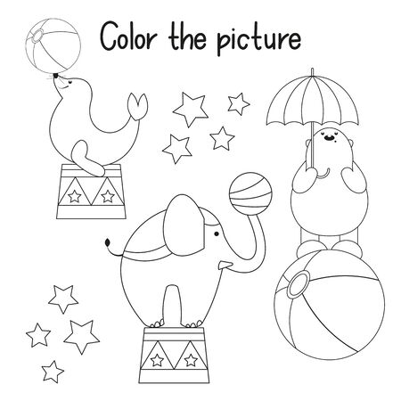 Color the Picture. Coloring Page for Kids - Circus Animals - Elephant, Bear, Seal. Games for Preschool, Kindergarten, School. Vector Illustration.
