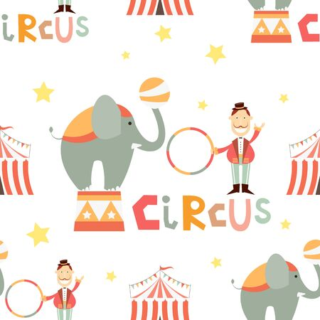 Circus Seamless Pattern - Cartoon Circus Tamer and Elephant. Amusement background. Vector Illustration. Print for Wallpaper, Baby Clothes, Wrapping Paper. Don't contain clipping mask and gradient. Stockfoto - 146959724