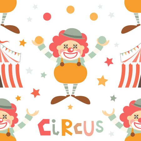 Circus Seamless Pattern - Cartoon Circus Funny Clown. Amusement background. Vector Illustration. Print for Wallpaper, Baby Clothes, Wrapping Paper. Don't contain clipping mask and gradient.