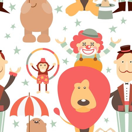 Circus Seamless Pattern - Cartoon Circus Animals, Tamer, Clown. Amusement background. Vector Illustration. Print for Wallpaper, Baby Clothes, Wrapping Paper. Don't contain clipping mask and gradient.