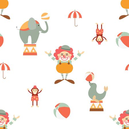 Circus Seamless Pattern - Cartoon Circus Animals and Clown. Amusement background. Vector Illustration. Print for Wallpaper, Baby Clothes, Wrapping Paper. Don't contain clipping mask and gradient. Stock Illustratie