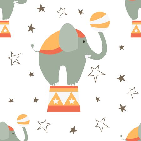 Circus Seamless pattern - Cartoon Circus Animals - Big Elephant. Amusement background. Vector Illustration. Print for Wallpaper, Baby Clothes, Wrapping Paper. Don't contain clipping mask and gradient. Stock Illustratie
