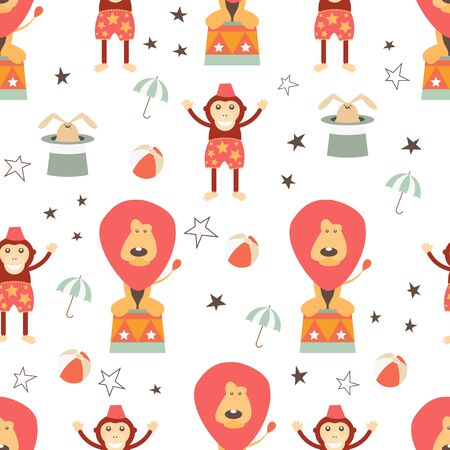 Circus Seamless pattern - Cartoon Circus Animals - Lion, Monkey. Amusement background. Vector Illustration. Print for Wallpaper, Baby Clothes, Wrapping Paper. Don't contain clipping mask and gradient.