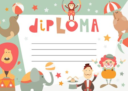 Certificate Kids Diploma. Circus Theme - Cartoon Circus Characters  and Objects. Vector Illustration. Kids Education.