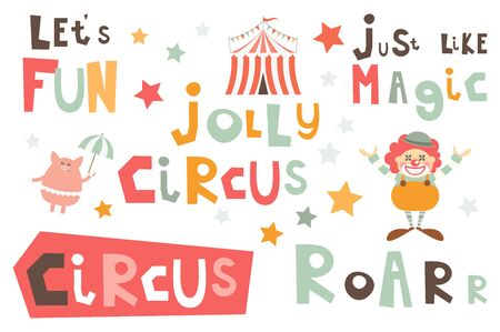 Circus Phrases Set. Hand Drawn Motivation Quotes, Phrases and Words. Vector Illustration. Stockfoto - 146565456