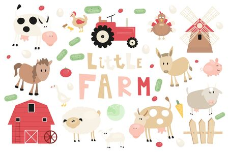 Farm Animals and Objects Set. Cartoon clip arts in Rustic Style. Isolated on White background. Vector illustration. Cow, Sheep, Goat, Barn, Tractor, Vegetables and other Farm Elements Cut Out.