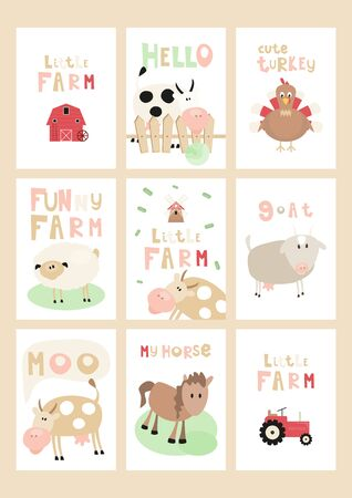 Little Farm Posters Set - Cartoon Farm Animals and Objects - Barn, Tractor, Mill. Kids Illustration for Baby Clothes, Greeting Card, Nursery Decor. Vector Illustration. Cute Lettering.
