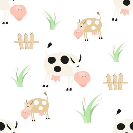 Farm Seamless pattern - Farm Animals  - Cartoon Funny Cows. Rustic background. Vector Illustration. Print for Wallpaper, Baby Clothes, Wrapping Paper. Don't contain clipping mask and gradient.