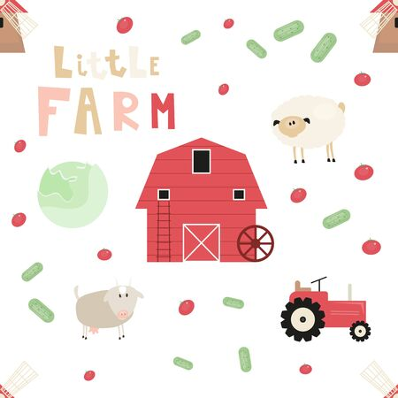 Farm Seamless pattern - Animals and Objects - Mill, Barn, Tractor. Rustic background. Vector Illustration. Print for Wallpaper, Baby Clothes, Wrapping Paper. Don't contain clipping mask and gradient.