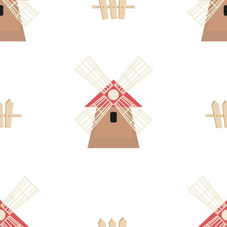 Farm Seamless pattern - Cartoon Farm Objects - Mill, Fence. Rustic background. Vector Illustration. Print for Wallpaper, Baby Clothes, Wrapping Paper. Don't contain clipping mask and gradient.