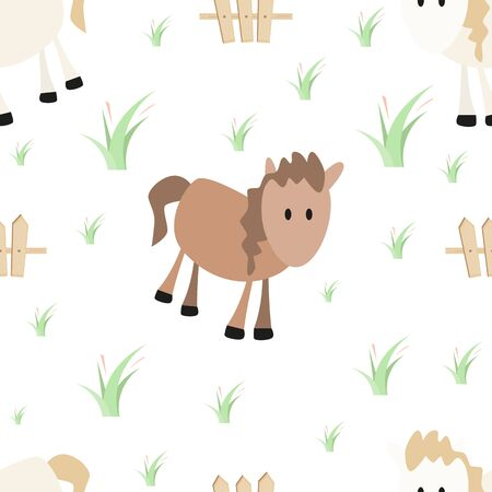 Farm Seamless pattern - Cartoon Farm Animals - White and Brown Horse. Rural background. Vector Illustration. Print for Wallpaper, Baby Clothes, Wrapping Paper. Don't contain clipping mask and gradient