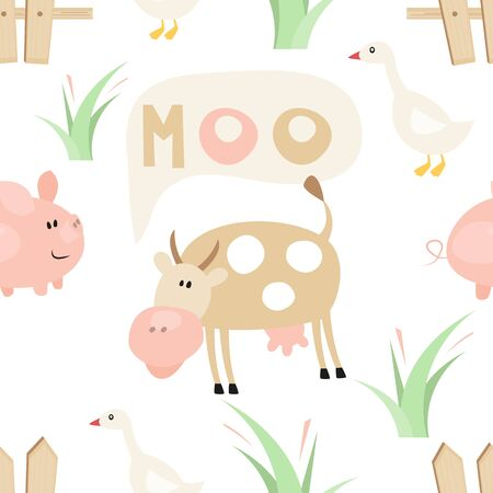 Farm Seamless pattern - Cartoon Farm Animals - Cow, Pig, Goose. Rustic background. Vector Illustration. Print for Wallpaper, Baby Clothes, Wrapping Paper. Don't contain clipping mask and gradient.