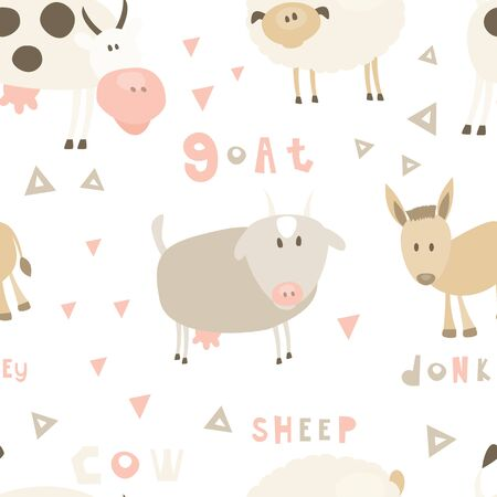 Farm Seamless pattern - Cartoon Farm Animals - Goat, Sheep, Cow, Donkey. Rustic background. Vector. Print for Wallpaper, Baby Clothes, Wrapping Paper. Don't contain clipping mask and gradient.