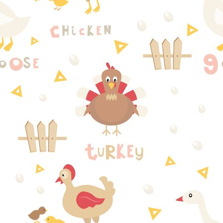 Farm Seamless pattern - Cartoon Poultry - Chicken, turkey, Chick. Rustic background. Vector Illustration. Print for Wallpaper, Baby Clothes, Wrapping Paper. Don't contain clipping mask and gradient.