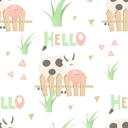 Farm Seamless Pattern - Cartoon Funny Cow. Farm background. Vector Illustration. Print for Wallpaper, Baby Clothes, Wrapping Paper. Don't contain clipping mask and gradient. Stockfoto - 146959741