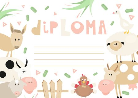 Certificate Kids Diploma. Little Farmer Theme - Cartoon Farm Animals and Objects. Vector Illustration. Kids Education. Stock Illustratie