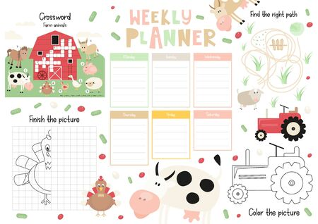 Little Farm Kids Weekly Planner Template. Schedule for Children. Set of Kids Puzzles for Preschool, Kindergarten, School. Vector illustration. Cute Farm Animals and Objects.  Stock Illustratie