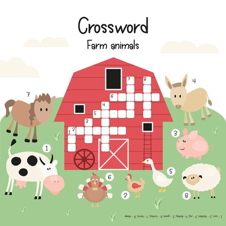 Kids Crossword in English. Magazine Book Puzzle Game with Cartoon Cute Farm Animals. Games for Preschool, Kindergarten, School. Vector Illustration.
