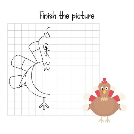 Finish the picture - Funny turkey. Logic games for Preschool, Kindergarten, School. Coloring page. Vector illustration. Stock Illustratie