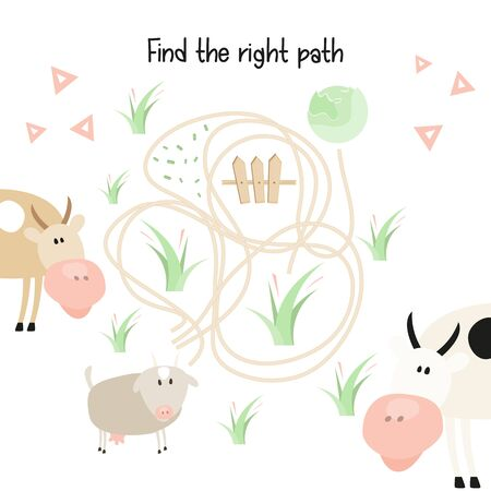Farm Labyrinth. Help Goat Find the Right Path to Cabbage. Games for Preschool, Kindergarten, School. Vector Illustration. Maze Game. Stockfoto - 146777781