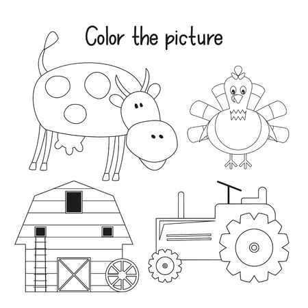 Color the Picture. Coloring Page for Kids - Farm Animals and Objects - Cow, turkey, Tractor, Barn. Games for Preschool, Kindergarten, School. Vector Illustration.