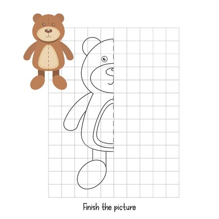 Finish the Picture - Bear Toy. Logic games for Preschool, Kindergarten, School. Coloring page. Vector illustration. Stock Illustratie