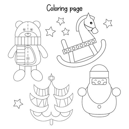 Color the Christmas Picture. Xmas Coloring Page for Kids - Santa Claus, Christmas Tree, Bear Toy and Horse. Games for Preschool, Kindergarten, School. Vector Illustration. Stock Illustratie