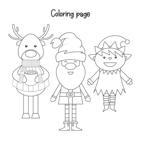 Color the Christmas Picture. Xmas Coloring Page for Kids - Santa Claus, Reindeer and Elf. Games for Preschool, Kindergarten, School. Vector Illustration. Stock Illustratie