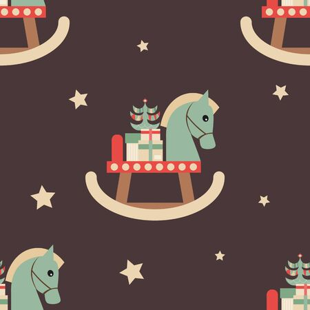 Christmas Seamless pattern - Cute Christmas Characters and Objects - Wooden Horse with Gifts. Xmas Retro Background. Vector Print for Wallpaper, Packing. Don't contain clipping mask and gradient. Stock Illustratie