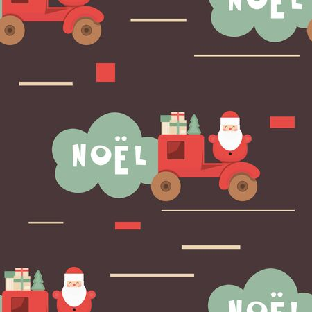 Christmas Seamless pattern - Cute Christmas Characters and Objects - Red Car with Santa and Gifts. Xmas Retro Background. Vector Print for Wallpaper, Packing. Don't contain clipping mask and gradient.