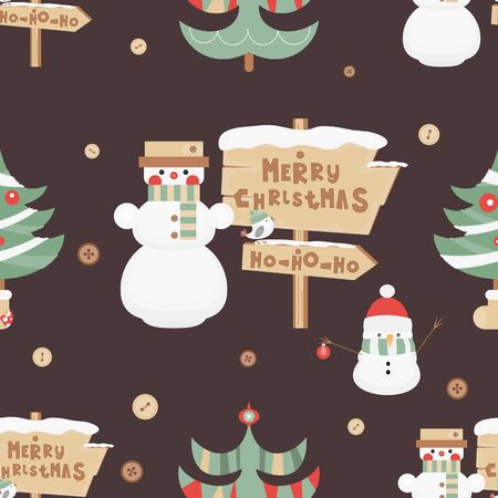Christmas Seamless pattern. Cute Christmas Characters and Objects - Snowman, Signpost and Tree. Xmas Retro Background. Vector Print for Wallpaper, Packing. Don't contain clipping mask and gradient.
