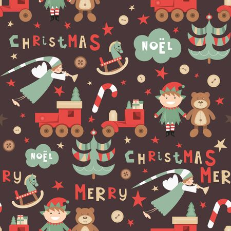 Christmas Seamless pattern. Cute Christmas Characters and Objects - Angel, Elf, Bear, Tree, Toys. Xmas Retro background. Vector Print for Wallpaper, Packing. Don't contain clipping mask and gradient.