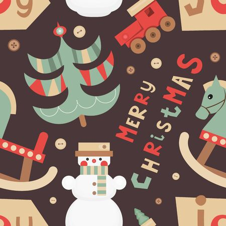 Christmas Seamless pattern - Cute Christmas Characters and Objects - Toys, Snowman and Tree. Xmas Retro background. Vector Print for Wallpaper, Packing. Don't contain clipping mask and gradient.