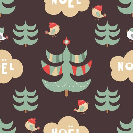 Christmas Seamless pattern. Cute Christmas Characters and Objects - Trees, Birds, Lettering. Xmas Retro background. Vector Dark Print for Wallpaper, Packing. Don't contain clipping mask and gradient.