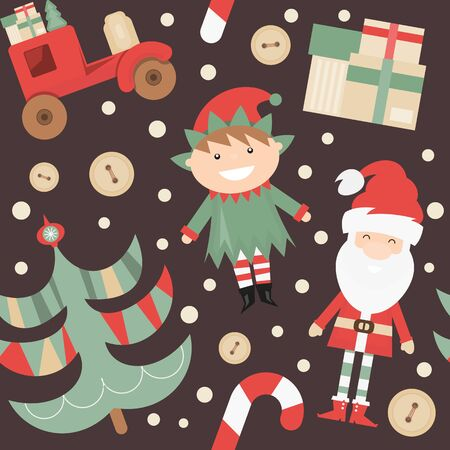 Christmas Seamless pattern. Cute Christmas Characters and Objects - Santa, Trees, Elf, Car. Xmas Retro Dark background. Vector Print for Wallpaper, Packing. Don't contain clipping mask and gradient. Stockfoto - 147432878