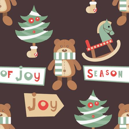 Christmas Seamless pattern. Cute Christmas Characters and Objects - Bear Toy, Trees, Wooden Horse. Xmas Retro background. Vector Print for Wallpaper, Packing. Don't contain clipping mask and gradient.