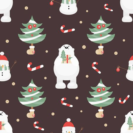 Christmas Seamless pattern. Cute Christmas Characters and Objects - Polar Bear, Trees, Snowman. Xmas Retro background. Vector Print for Wallpaper, Packing. Don't contain clipping mask and gradient. Stock Illustratie