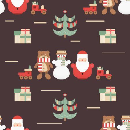 Christmas Seamless pattern. Cute Christmas Characters and Objects - Santa, Trees, Snowman, Bear. Xmas retro background. Vector Print for Wallpaper, Packing. Don't contain clipping mask and gradient. Stockfoto - 147432882