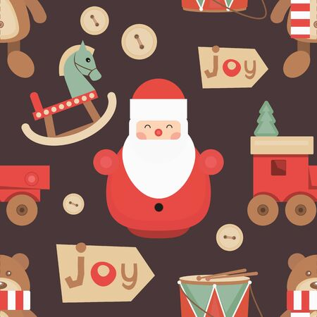 Christmas Seamless pattern - Cute Christmas Characters and Objects - Santa, Wooden Christmas Toys. Xmas retro background. Vector Print for Wallpaper, Packing. Don't contain clipping mask and gradient. Stock Illustratie